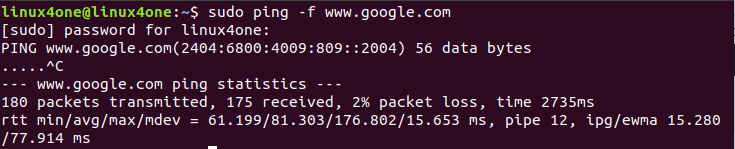 """Ping Command Linux-Flood"""" width ="""" 735"""" height ="""" 149"""" srcset ="""" https://linux4one.com/wp-content/uploads/2019/03/Ping-Command-Linux-Flood.png 735w,https: //linux4one.com/wp-content/uploads/2019/03/Ping-Command-Linux-Flood-300x61.png 300w"""" data-lazy-sizes =""""(最大宽度:735px)100vw,735px"""