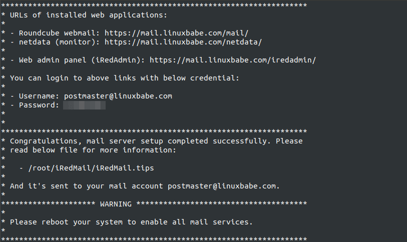 iredmail url of installed web applications