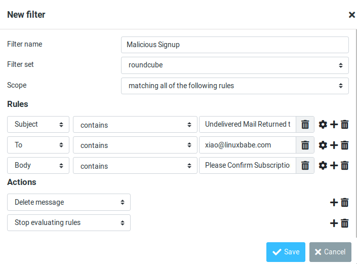 deal with malicious signup mailtrain