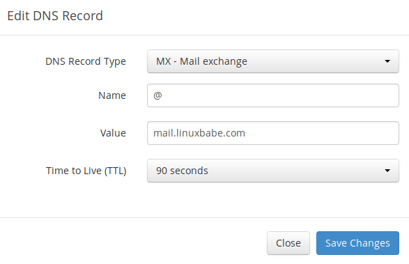 iredmail email server create MX record