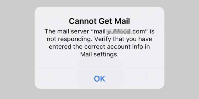 ios the mail server is not responding