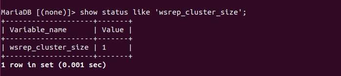 show status like 'wsrep_cluster_size';