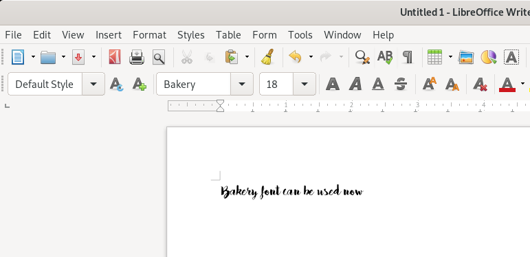 Font in libreoffice