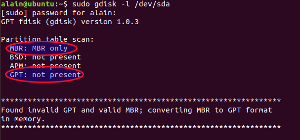 Check MBR partition with gdisk command