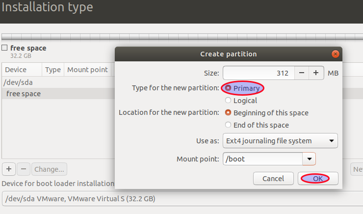 Create tge GPT boot partition