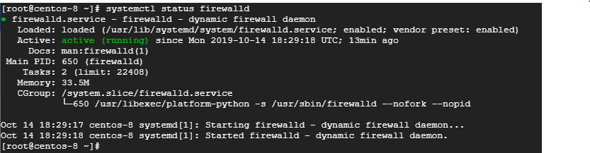 Check the status of the firewall