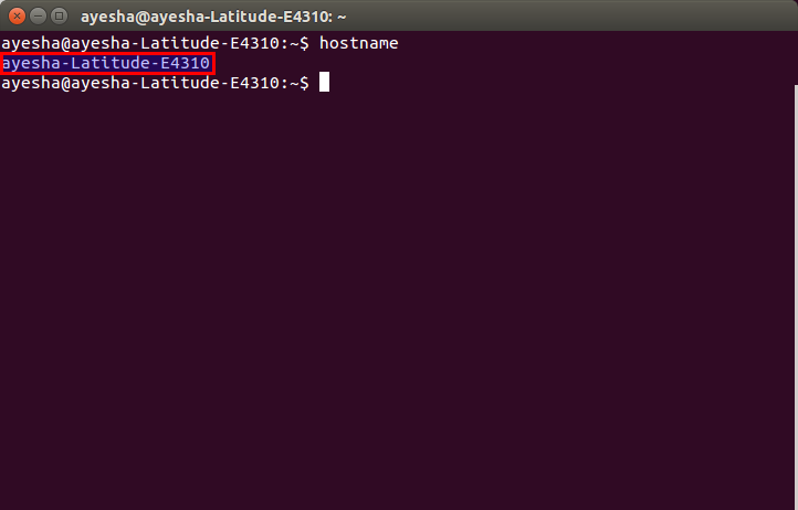 The host name is displayed in the shell of the Linux system