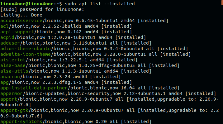 How to list installed packages -apt command