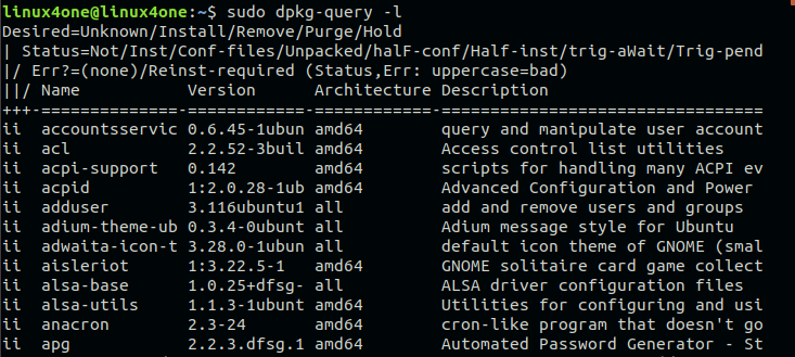 How to list installed packages-dpkg-query command