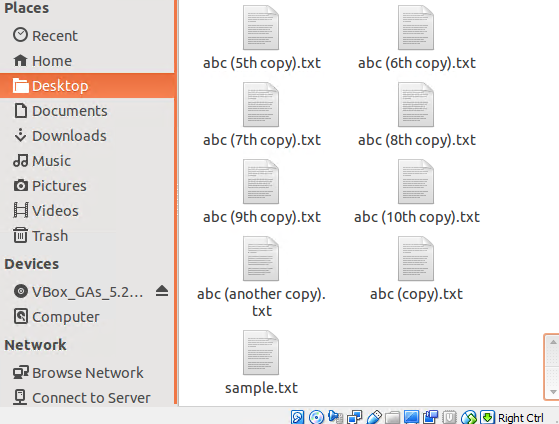 List of files for our example