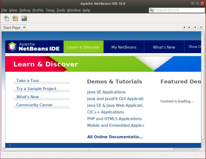 How to install Netbeans-Home screen