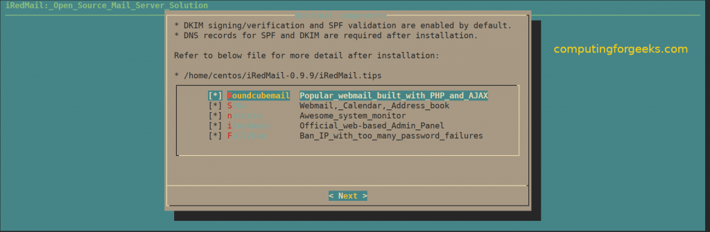 How to install iRedMail mail server on CentOS 7