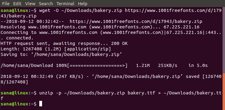 Download and unzip the Font File to your shell