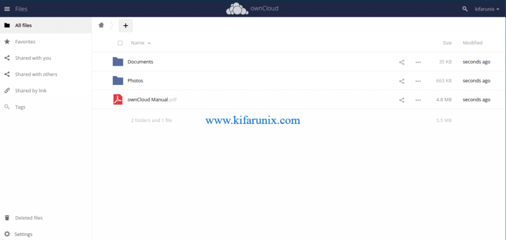 OwnCloud server on CentOS 8