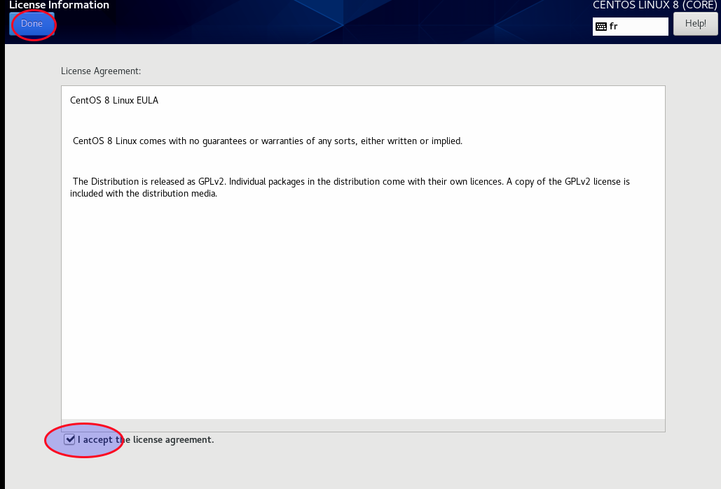 Accept the centos 8 license agreement