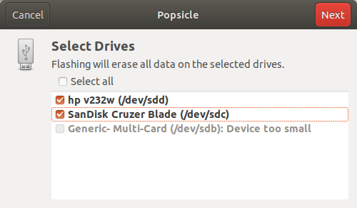 Select USB device to flash using Popsicle