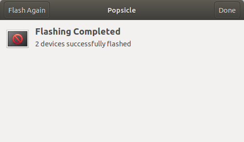 Flash completed using popsicle