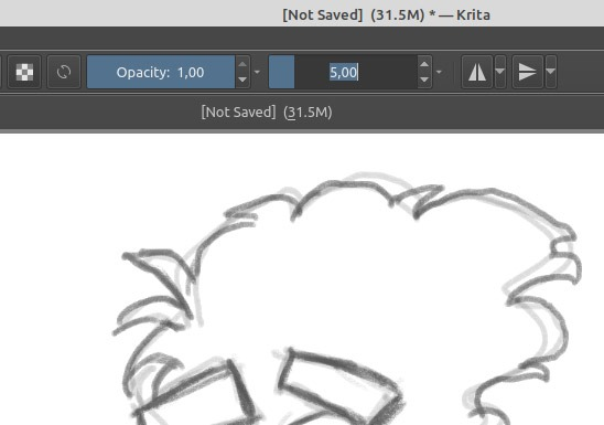 Sketch like a professional in Krita to reduce brush size