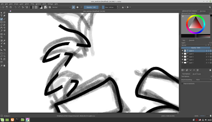 Use an eraser to sketch like a professional in Krita