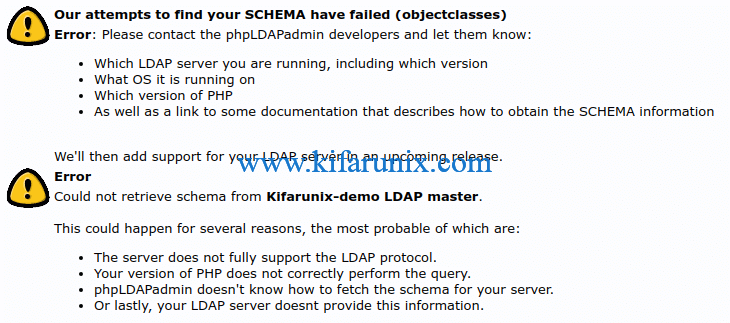 phpLDAPadmin CentOS 8 Our attempts to find your SCHEMA have failed (objectclasses)