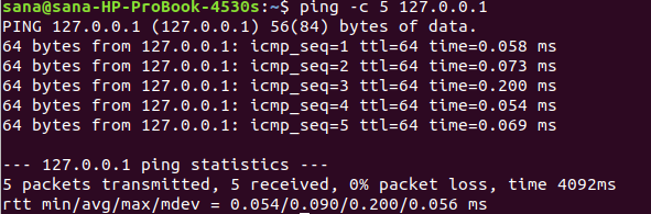 Set ping to send the desired number of packets