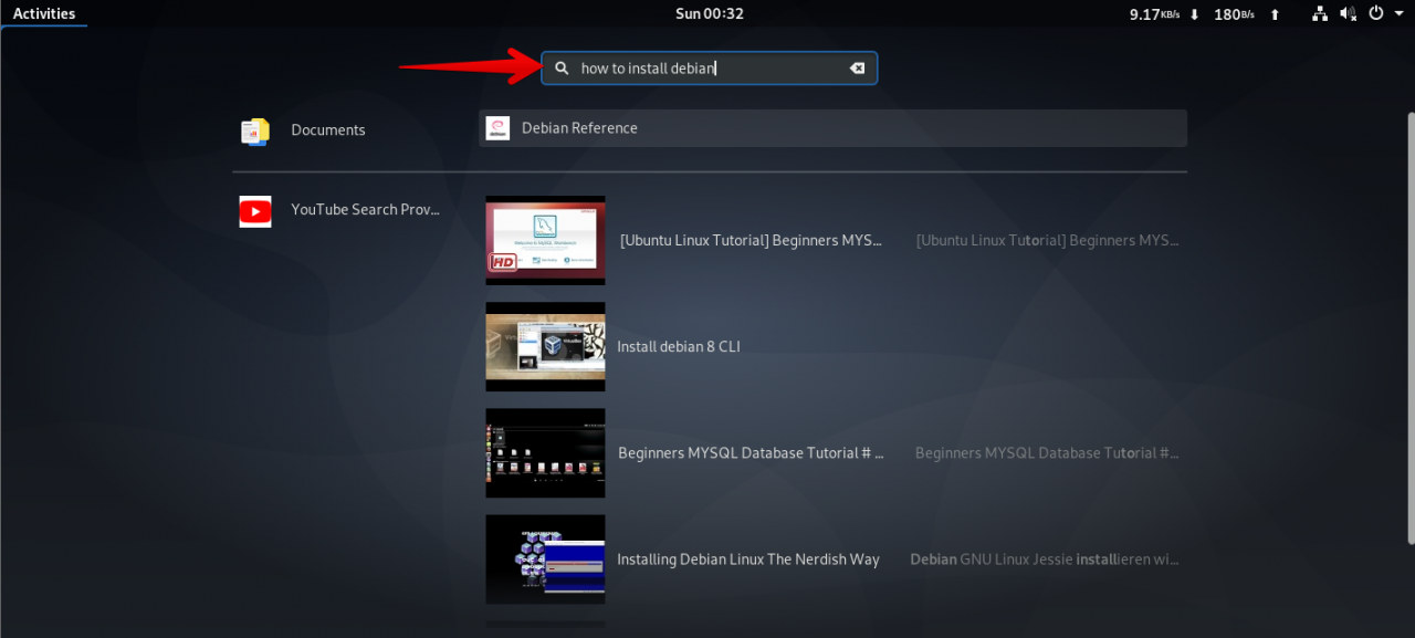 How to search for YouTube videos on the Debian GNOME desktop