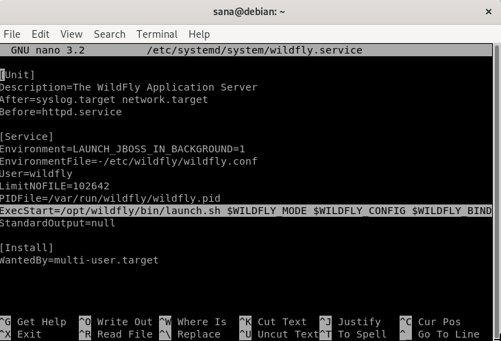 Configure wildfly.service file