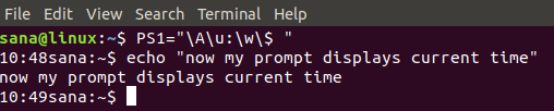 Show system time on the command line