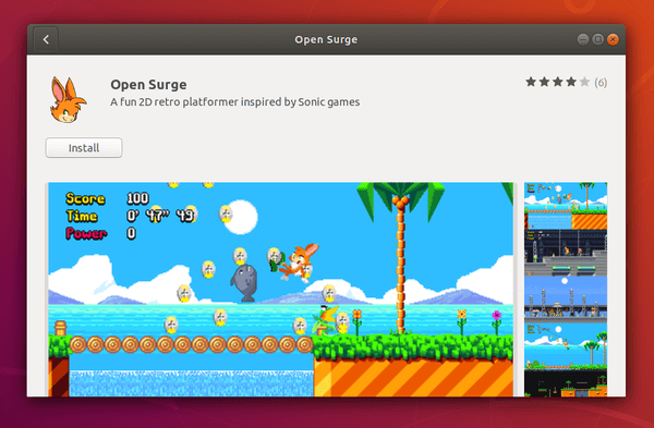 "Fun 2D retro platformer ""Open Surge"" can be used as a snap"
