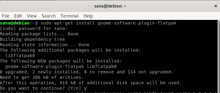 Install Flatpak Debian Software Installation Plugin