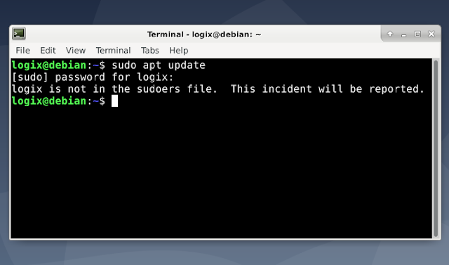 Fix `username is not in Sudoers file. This event will be reported on Debian