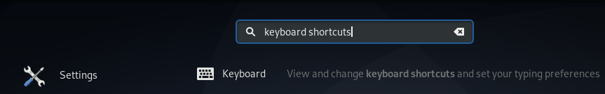 Search for keyboard shortcuts