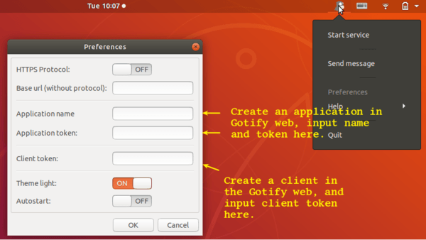 Gotify-Indicator: Send and receive messages on Ubuntu desktop