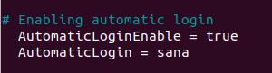 Uncommented lines in the configuration file
