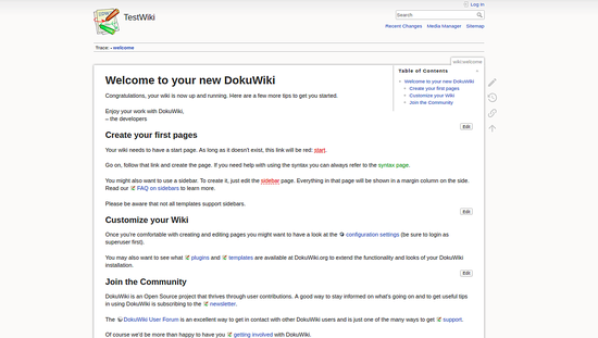 DokuWiki has been successfully installed