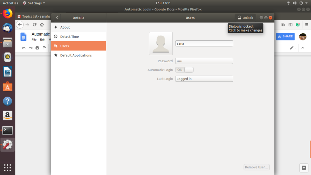 User Dialog in Ubuntu