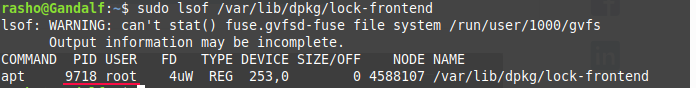 Find out which process owns the locked file