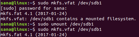 Create a file system using the mkfs command