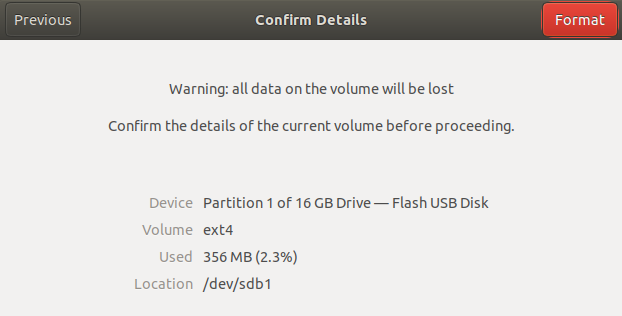 Confirm USB drive for formatting