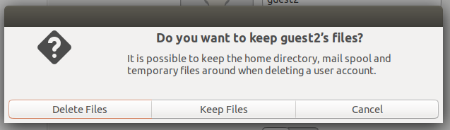 Choose whether you want to save user files