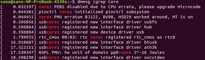 Highlight words in dmesg output