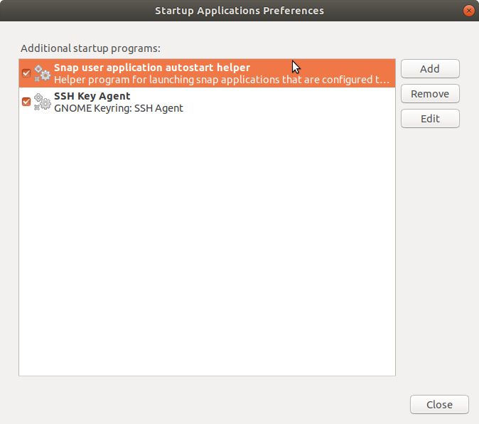 Application Launch Settings Dialog