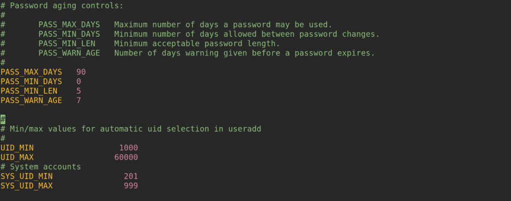 Configure user password aging / expiration policy in Linux