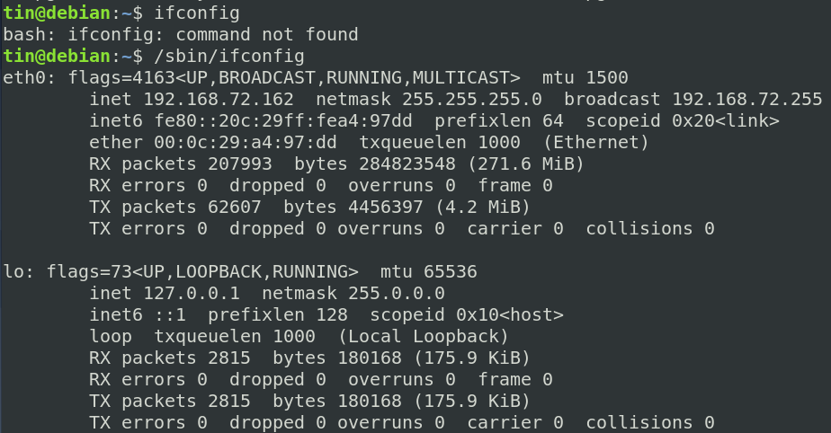 Show network configuration using ifconfig command