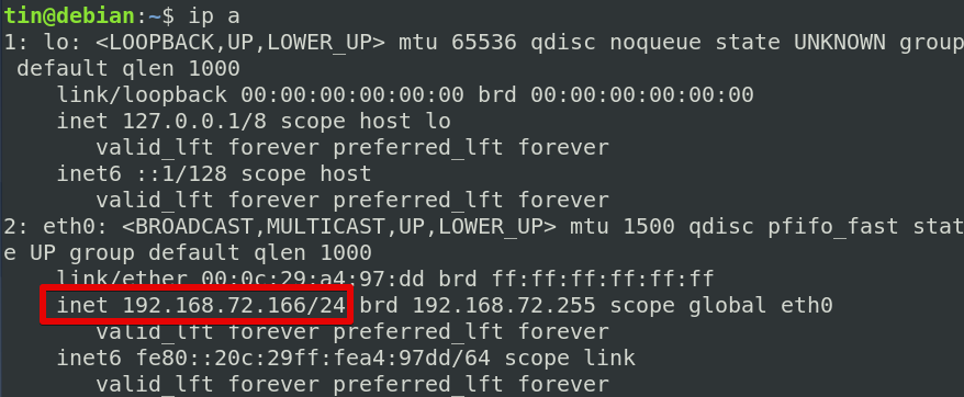 Check the modified config using the ip command