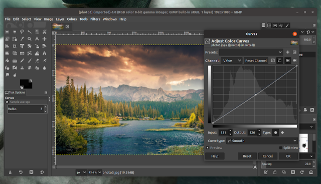 Improvements to GIMP 2.10.12 curve tools