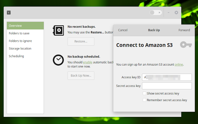 How to use Deja Dup to backup to Amazon S3