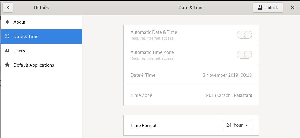 GNOME Date and Time Settings