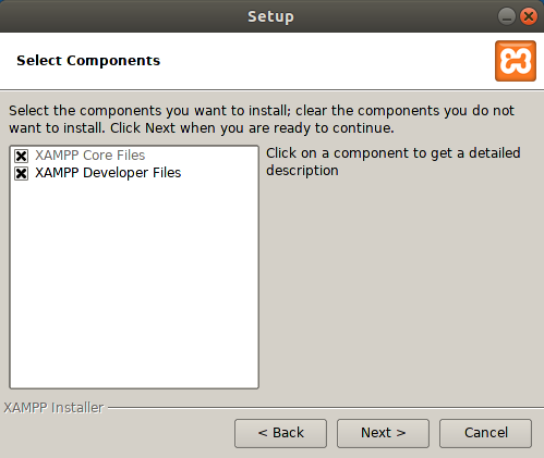 Choose which XAMPP components to install