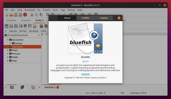How to Install The Latest Bluefish Editor 2.2.11 in Ubuntu 18.04